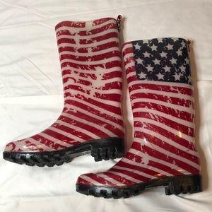 Capelli American Flag Rain Boots. Size 6.